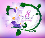 Greeting card with 8 March. Happy international women s day. Vector frame with spring flowers Royalty Free Illustration
