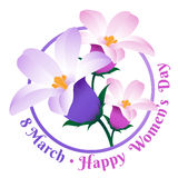 Greeting card with 8 March. Happy international women`s day. Vector frame with spring flowers isolated on white background Royalty Free Illustration