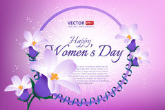 Greeting card with 8 March. Happy international women s day. Vector frame with spring flowers and ribbon Vector Illustration