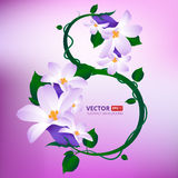 Greeting card with 8 March. Happy international women s day. Vector illustration of eight number made of spring flowers stock illustration