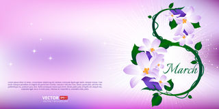 Greeting card with 8 March. Happy international women s day. Vector illustration of eight number made of spring flowers Royalty Free Illustration