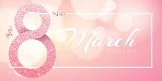 Greeting card for March 8. Happy women`s day. Big number 8 from pink glitters. Pink ribbons. Light banner frame with white text. Luxurious banner. Poster for 8 Stock Photos