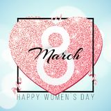 Greeting card for March 8. International happy women`s day. Pink heart from glitters. Pink ribbons. Romantic banner for text. lux. Urious banner frame. Flyer for stock illustration