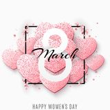 Greeting card for March 8. International happy women`s day. Pink hearts from glitters. Confetti and ribbons. Romantic banner for. Text. luxurious shine. Flyer Stock Photos