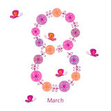 Greeting card with March 8. International Women's Day. Figure 8 from a wreath of spring flowers with butterflies. Vector illustration Stock Photo