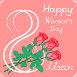 Greeting card on March 8. Greeting card with the international women`s day .n Royalty Free Stock Image