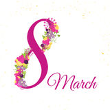 Greeting card 8 march with pink flowers. 8 march - woman's day. Can be used for 8 march banner design. Stock Photography