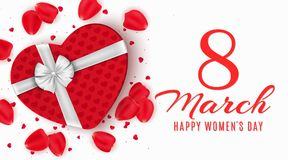 Greeting card for 8 March. Red gift box of heart on happy womens day. Light white background. Rose petals and confetti. Banner on. March 8. Vector illustration vector illustration