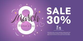 Greeting card since 8 march. Sale 30 percent. Trendy Design Template. 8 march. Bright flyer with the decor of paper cut flowers. Vector illustration Stock Image