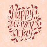 Greeting card for 8 March. Vector illustration. Lettering quote on Happy Women`s Day. Vintage design for poster or banner. / Royalty Free Stock Photography