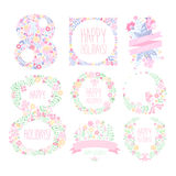Greeting Card with March 8. Vector Illustration Set. Greeting card with March 8. Flower Vector Illustration Set Stock Illustration