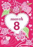 Greeting Card 8 March Woman Day. 8 march, greeting card, womans day, flowers and international womens day, spring holiday, march 8 day, celebration woman 8 Stock Images