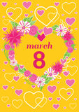 Greeting Card 8 March Woman Day. 8 march, greeting card, womans day, flowers and international womens day, spring holiday, march 8 day, celebration woman 8 Stock Image