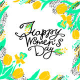 Greeting card for 8 march. 8 march women`s day greeting card Stock Photos