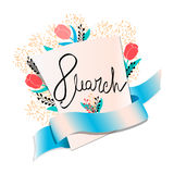 Greeting card for 8 march. 8 march women`s day greeting card royalty free illustration