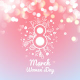 Greeting card with March 8, women's day on bokeh background,. Illustration Royalty Free Stock Photos