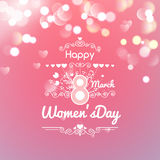Greeting card with March 8, women's day on bokeh background,. Illustration Royalty Free Stock Image