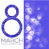 Greeting card with March 8, women`s day on bokeh background, vector illustration. Greeting card with March 8, women`s day on bokeh background, vector Stock Photo