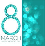 Greeting card with March 8, women`s day on bokeh background, vector illustration. Greeting card with March 8, women`s day on bokeh background, vector Stock Image