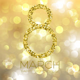 Greeting card with March 8, women`s day on bokeh background, vector illustration. Greeting card with March 8, women`s day on bokeh background, vector Royalty Free Stock Image
