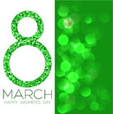 Greeting card with March 8, women`s day on bokeh background, vector illustration. Greeting card with March 8, women`s day on bokeh background, vector Royalty Free Stock Photo