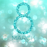 Greeting card with March 8, women`s day on bokeh background, vector illustration. Greeting card with March 8, women`s day on bokeh background, vector Stock Photos