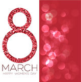 Greeting card with March 8, women`s day on bokeh background, vector illustration. Greeting card with March 8, women`s day on bokeh background, vector Royalty Free Stock Photography