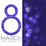 Greeting card with March 8, women`s day on bokeh background, vector illustration. Greeting card with March 8, women`s day on bokeh background, vector Royalty Free Stock Images