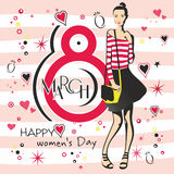 Greeting card with 8 March womens Day_4 Royalty Free Stock Images