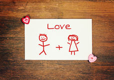 Greeting card - matchstick man - love Stock Images