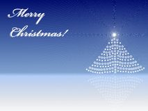 Greeting card of Merry Christmas. With blue background Royalty Free Stock Image