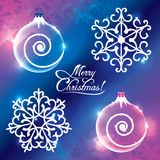 Greeting card Merry Christmas. With the balls and snowflakes Royalty Free Stock Photography