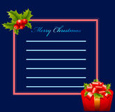 Greeting card - Merry Christmas. On blue background - Greeting card - Merry Christmas Royalty Free Stock Photo