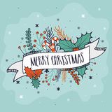 Greeting card for Merry Christmas celebration. Merry Christmas celebration greeting card design with ribbon, candy cane, mistletoe and fir tree branches Stock Images