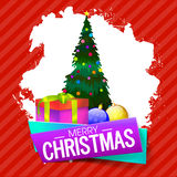 Greeting Card for Merry Christmas celebration. Elegant Greeting Card design with Big Xmas Tree, Gift Box and Balls for Merry Christmas celebration Royalty Free Stock Photos