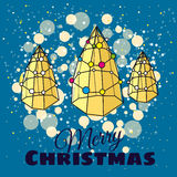 Greeting Card Merry Christmas, Christmas tree modern design. Styling, lights, vector illustration Stock Photos