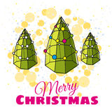 Greeting Card Merry Christmas, Christmas tree modern design. Styling, lights, vector illustration Royalty Free Stock Image