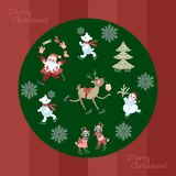 Greeting card Merry Christmas. Cute Santa Claus juggling gifts, polar bears, christmas tree, little raccoons, snowman and reindeer. Greeting card Merry Christmas Vector Illustration