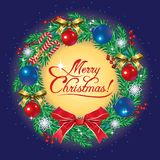 Greeting card merry Christmas with decorate wreath. Vector Greeting Christmas card with wreath of fir tree branches and colorful Christmas balls Stock Image