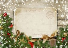 Greeting card Merry Christmas with decorations and vintage postc