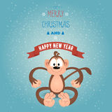 Greeting card Merry Christmas and happy new year with funny monk. Ey Royalty Free Stock Images