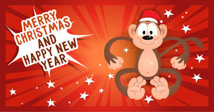 Greeting card Merry Christmas and happy new year with monkey in. Santa's cap Stock Image
