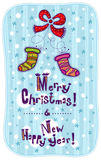 Greeting card Merry Christmas and Happy New Year Royalty Free Stock Image