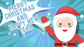 Greeting card Merry Christmas and happy new year with Santa clau. S Royalty Free Stock Photography