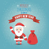 Greeting card Merry Christmas and happy new year with Santa clau. S and bag with gifts. Flat style stock illustration