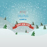 Greeting card Merry Christmas and happy new year with Santa clau. S and bag with gifts. Christmas tree in the snow. Flat style stock illustration