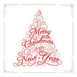 Greeting card Merry Christmas and Happy New Year. Royalty Free Stock Image