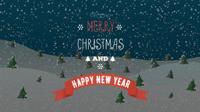Greeting card Merry Christmas and happy new year. Christmas tree in the snow. Flat style stock illustration