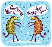 Greeting card Merry Christmas and Happy New Year. Two unusual animals greet each other a Merry Christmas and Happy New Year. Blue background with snowflakes royalty free illustration