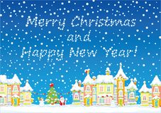 Greeting Card `Merry Christmas and happy New Year`. Vector illustration with a snow-covered town, a decorated tree, a snowman and Santa Claus Royalty Free Stock Photos